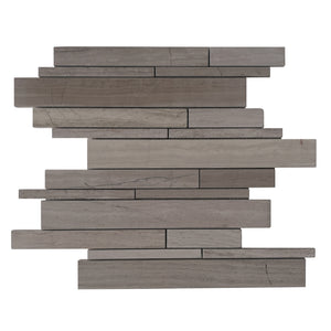 Wooden White Random Strip Honed Mosaic