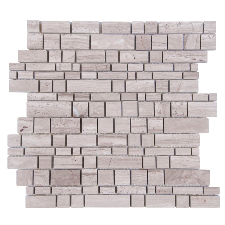 Wooden White Multi-Square Honed Marble Mosaic