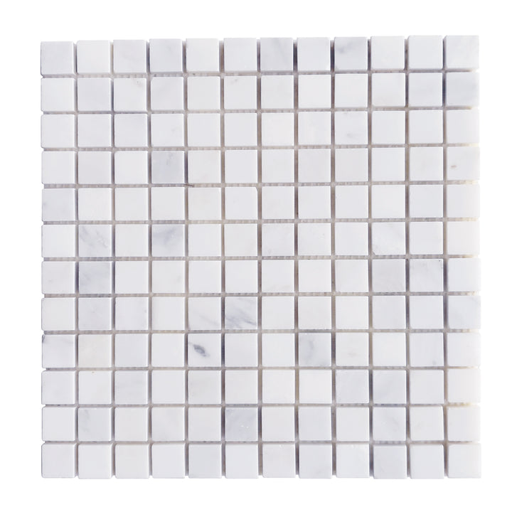 1x1 Oriental White Honed Marble Mosaic