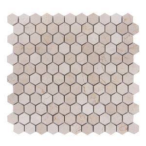 "1"" Cream Marfil Hexagon Polished Mosaic"