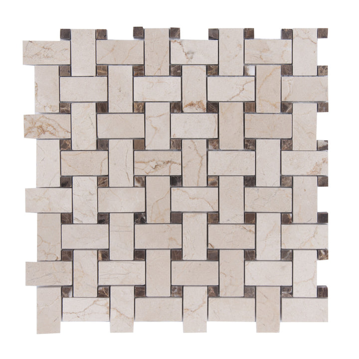 Cream Marfil/Emperador Polished Basketweave Mosaic