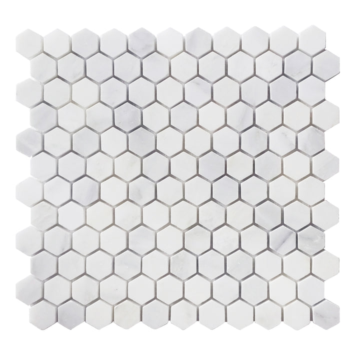 1'' Oriental White Hexagon Honed Mosaic