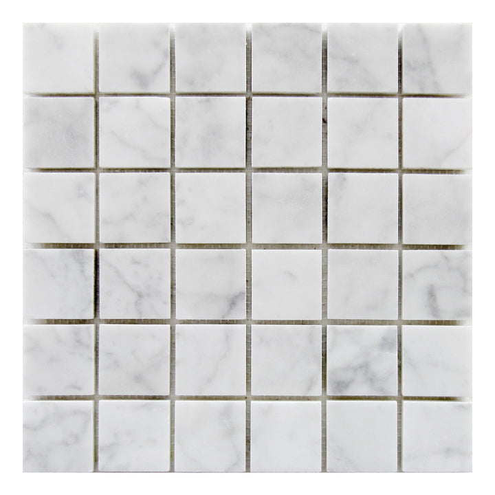 2x2 Carrara White Polished Marble Mosaic