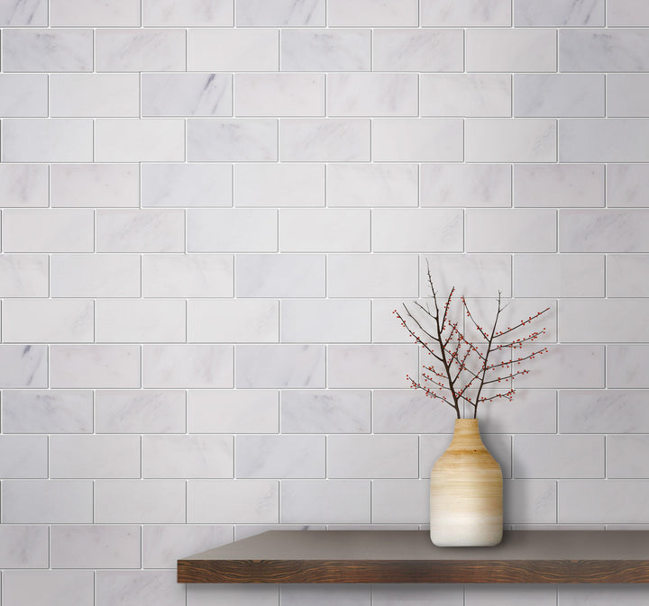 2x4 Brick Oriental White Honed Marble Mosaic