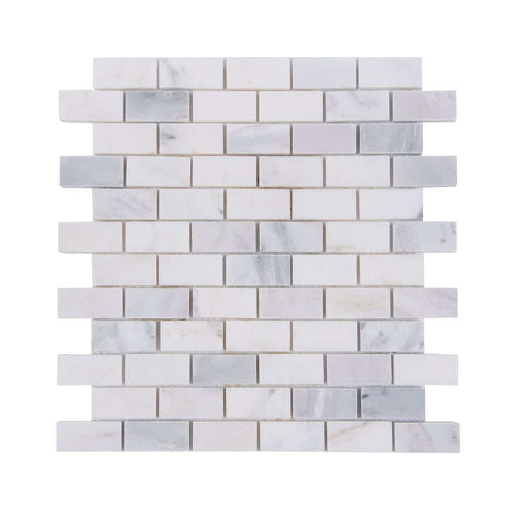 1x2 Oriental White Polished Marble Mosaic