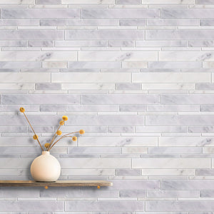 Oriental White Random Strip Polished Mosaic
