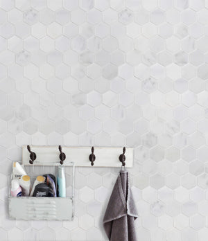 "2"" Oriental White Hexagon Honed Mosaic"