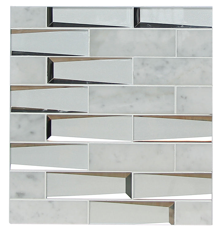 2x6 Carrara Marble and 3D Glass Mix Mosaic