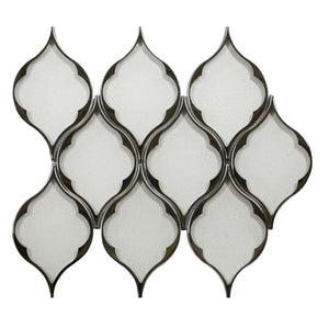 Feathered Lantern Pattern Silver Glass Mosaic with Silver Trim
