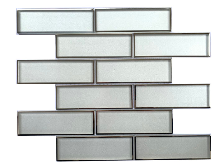 2x6 Silver Glass Mosaic with Silver Trim
