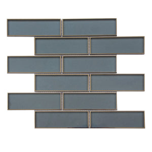 2x6 Dark Blue Glass Mosaic with Silver Trim