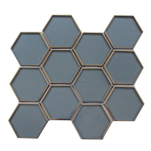 "3"" Hexagon Dark Blue Glass Mosaic with Silver Edge"