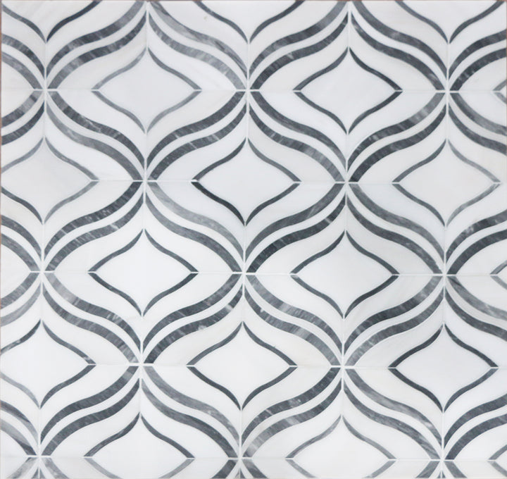 Lily - Thassos White & Palissandro Marble Waterjet