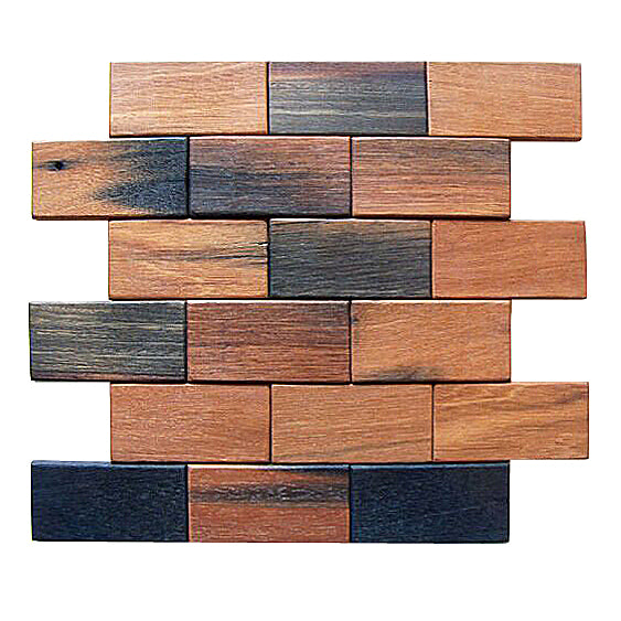 2x4 Brick Pattern Antique Wood Mosaic
