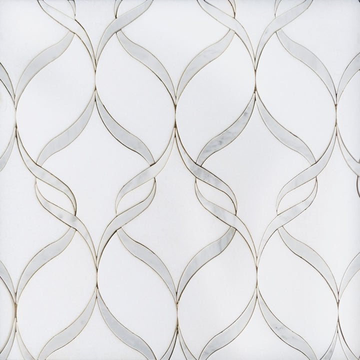 Soft Ribbons Carrara White & Thassos Waterjet