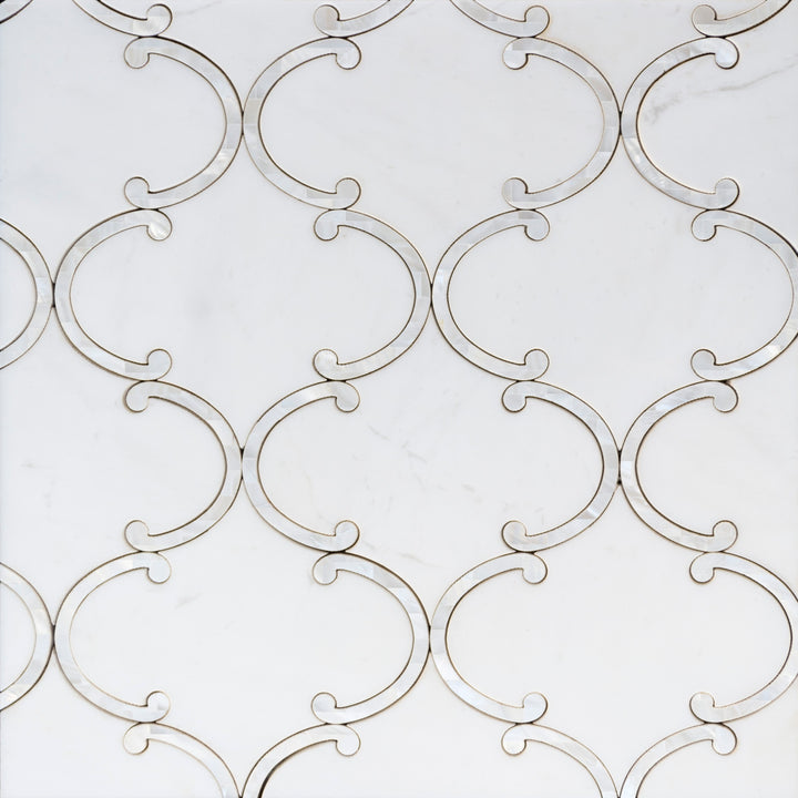 Thassos White & Mother of Pearl Waterjet