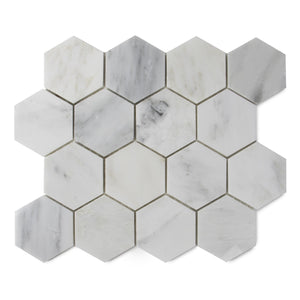 "3"" Polished Oriental White Marble Hexagon"