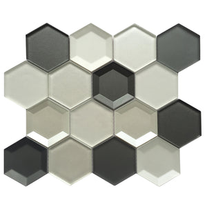 Mixed 3D Hexagon Glass Mosaic