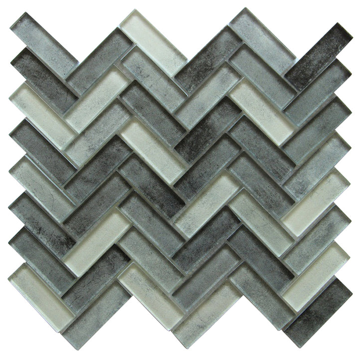 Misty Gray Herringbone Glass Mosaic