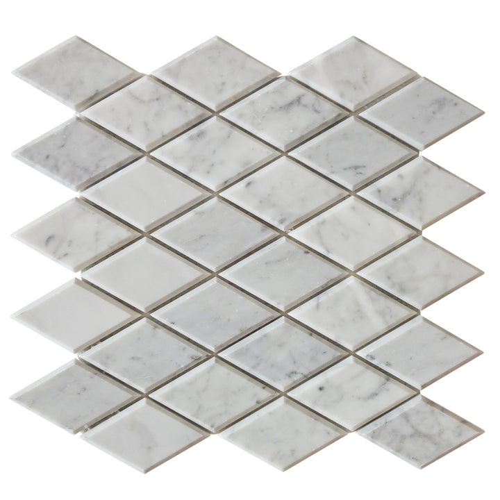 Carrara White Diamond Beveled Marble Mosaic