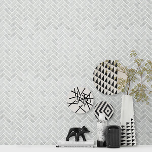 Carrara White Herringbone Mini Brick Mosaic