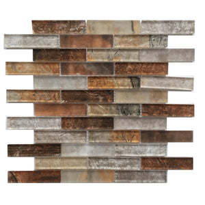 Gray Umber Textured Mixed Color Glass Mosaic