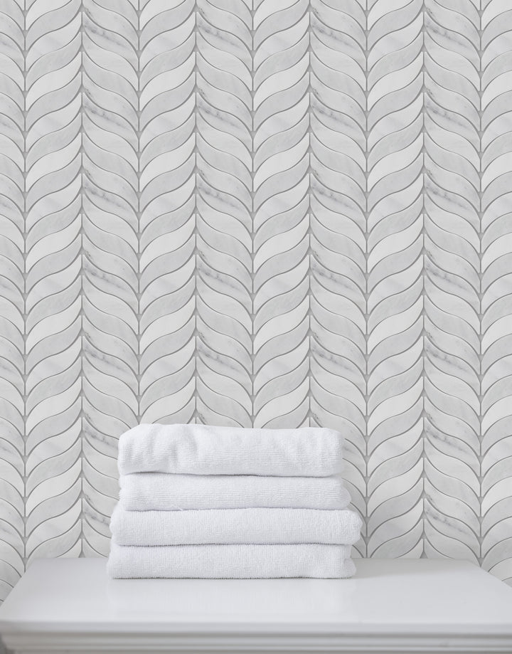 Oriental White Polished Marble Synergy Weave