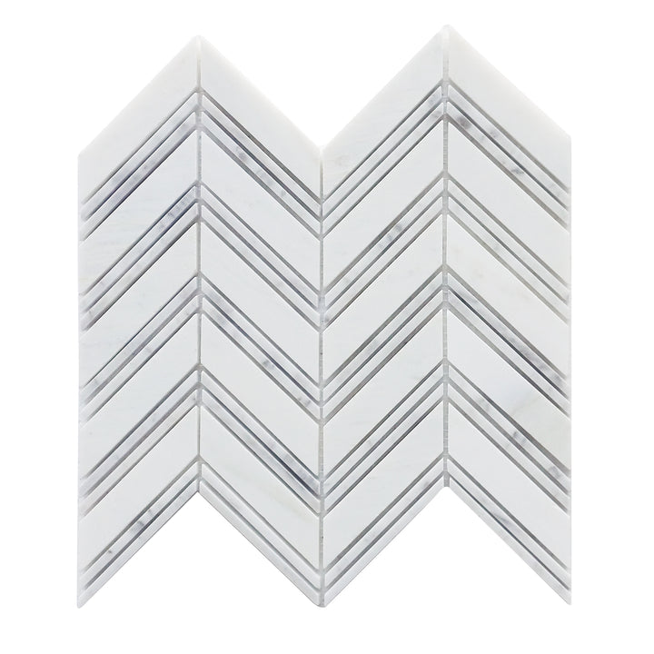 Carrara & Oriental White Polished Chevron Mosaic