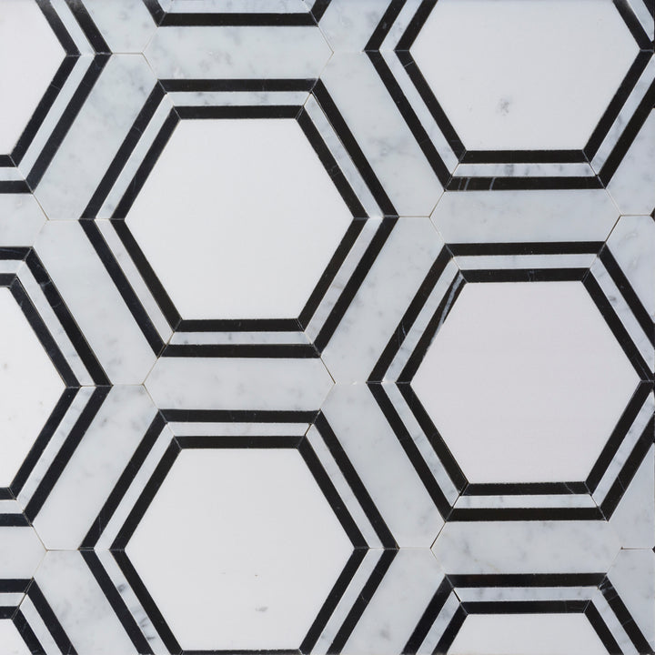 Black & White Hexagon Waterjet Mosaic