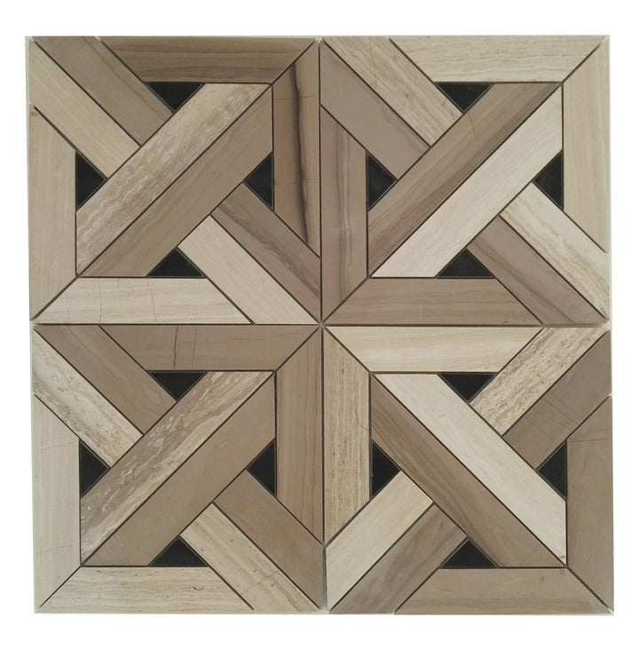 12x12 Arrow Weave Tile Marble Mosaic