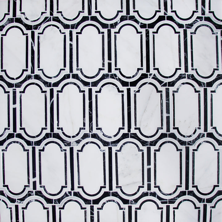 Windows Pattern Oriental Black & White Waterjet Mosaic