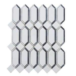 Elongated Hexagon Diamond White & Gray