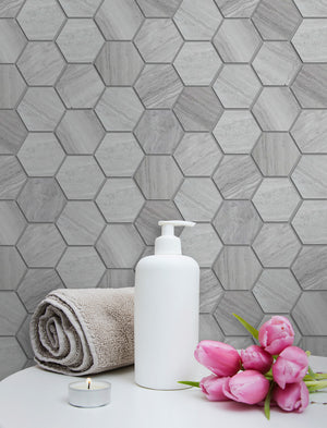 "Wooden White 2"" Hexagon Honed Mosaic"