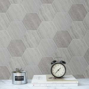 "Wooden White 6"" Hexagon Honed Mosaic"