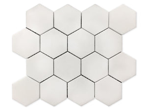 "3"" Thassos White Hexagon Polished Mosaic"