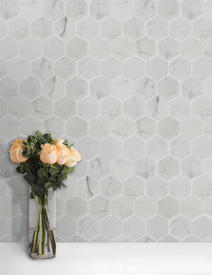 "3"" Calacatta Hexagon Polished Marble Mosaic"