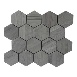 "Athens Gray 3"" Hexagon Honed Mosaic"