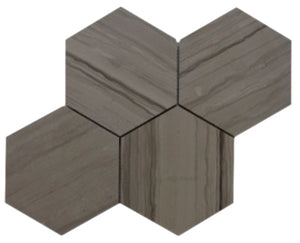 "Athens Gray 6"" Hexagon Honed Mosaic"