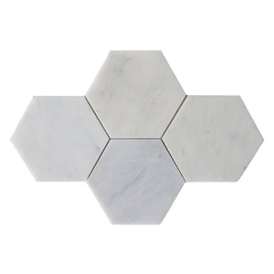 "Oriental White 6"" Hexagon Polished Mosaic"