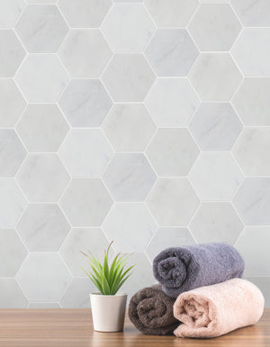 "6"" Oriental White Hexagon Honed Mosaic"