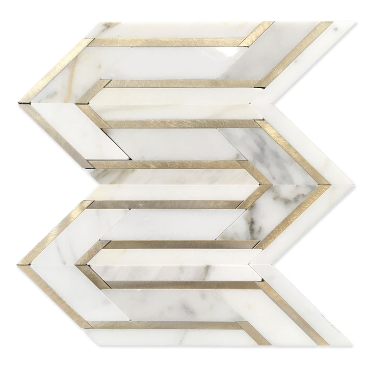 Arrows Calacatta Gold with Metal Marble Waterjet