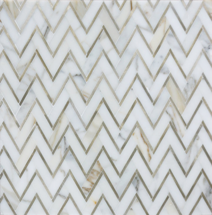 Zigzag Calacatta White with Gold Metal