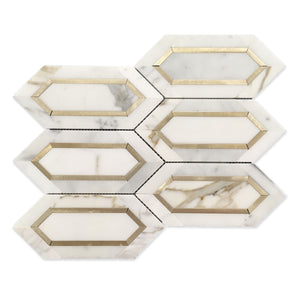 Calacatta Gold with Metal Elongated Hexagon
