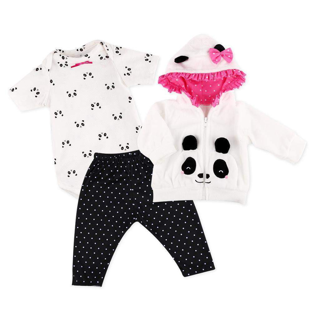 Reborn Baby Doll Clothes for 20- 23 '' Reborn Doll Girl Panda Outfit Accessories 4pcs Reborn Baby Matching Clothes