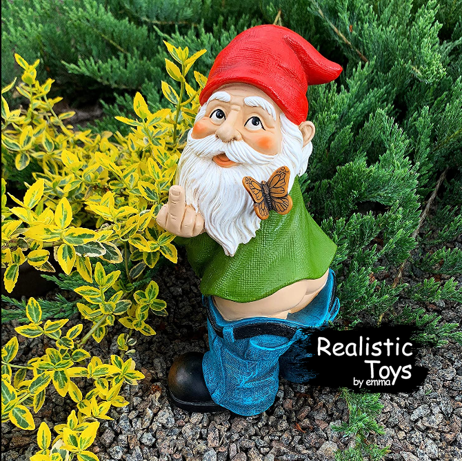 Emma Realistic Toys - Garden Gnome Gives The Finger-suwei-Emma Realistic Toys