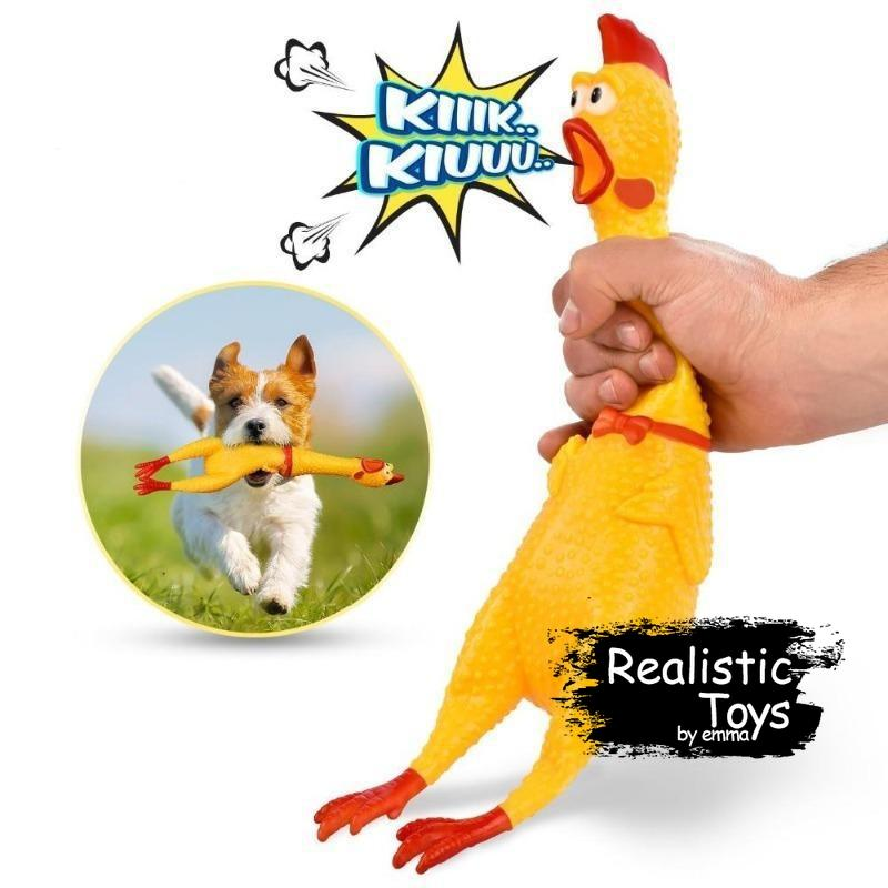 Emma Realistic Toys - Squeaky Chicken Toy for Dogs-Emma Realistic Toys-Yellow-S-Emma Realistic Toys