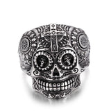 Stainless Steel Day of The Dead Gothic Cross Mens Jewelry, Biker Cool Ring