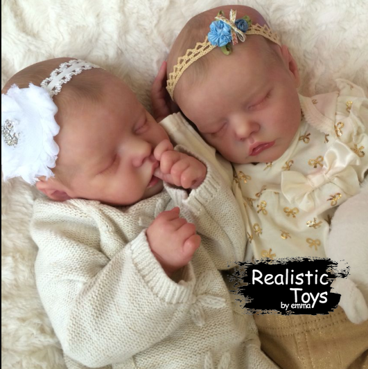SoftTouch Real Lifelike Twins Sister Lexi and Allie Reborn Baby Doll Girl-Emma Realistic Toys-emma realistic toys