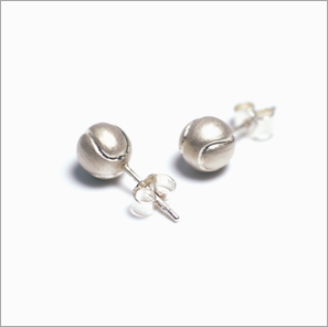 Tennis ball ear studs in sterling silver