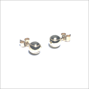 Tennis ball ear studs in 9ct gold